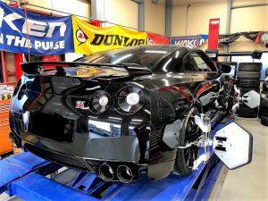 国産車日産R35GT-R4輪アライメント調整特別セッティングさせて頂きました。